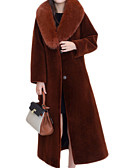 cheap Mother of the Bride Dresses-Women's Daily Basic Fall & Winter Long Coat, Solid Colored Over-sized collar Long Sleeve Wool / Fox Fur Wine / Light Brown / Army Green XL / XXL / XXXL