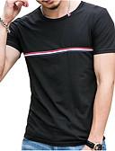 povoljno Muške majice i potkošulje-Majica s rukavima Muškarci - Vintage Dnevno Pamuk / Lan Jednobojni Okrugli izrez Rese Crno-bijela / Kratkih rukava