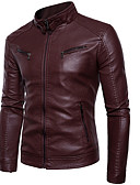 cheap Men's Shirts-men's pu leather jacket - solid colored