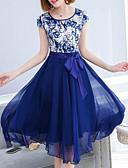 Χαμηλού Κόστους Βραδινά Φορέματα-Γυναικεία Μετάξι Swing Φόρεμα - Γεωμετρικό Μίντι Ψηλή Μέση