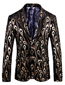 cheap Men's Shirts-Men's Party / Holiday / Club Vintage / Chinoiserie Spring &  Fall Regular Blazer, Rainbow V Neck Long Sleeve Cotton / Polyester Jacquard Gold XXXL / 4XL / XXXXXL