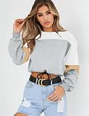 cheap Women's Hoodies & Sweatshirts-Women's Basic Sweatshirt - Color Block Gray M / Summer