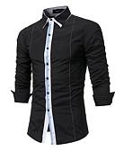 お買い得  メンズTシャツ&タンクトップ-男性用 ワーク プラスサイズ シャツ ビジネス / パンク&ゴシック ストライプ / カラーブロック コットン / 長袖