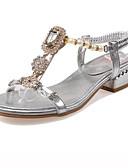 halpa Iltapuvut-Naisten Kengät Synteettinen Kesä Comfort Sandaalit Matala korko Avokkaat Tekohelmillä / Glitterillä Kulta / Hopea
