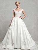 olcso Estélyi ruhák-Báli ruha V-alakú Kápolna uszály Csipke / Szatén Made-to-measure esküvői ruhák val vel Gyöngydíszítés / Rátétek / Csipke által LAN TING BRIDE®