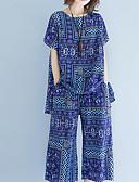 hesapli İki Parça Kadın Takımları-Kadın's Büyük Bedenler Actif Karpuz Kol Set - Büzgülü, Solid / Geometrik Pamuklu Pantolon