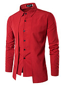 cheap Men's Shirts-Men's Work Business / Vintage Shirt - Solid Colored / Long Sleeve