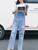 tanie Damskie spodnie-Damskie Bawełna Luźna Kombinezon Spodnie Litera Wysoka Talia / Wyjściowe / Z wycięciem
