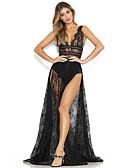 abordables Vestidos de Mujer-Mujer Noche Boho Sofisticado Delgado Vaina Vestido - Cortado Separado Ajuste de encaje, Un Color Alta cintura Maxi Escote en V Profunda / Sexy