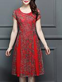 tanie Print Dresses-Damskie Linia A Sukienka Nadruk Do kolan