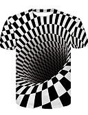 お買い得  メンズTシャツ&タンクトップ-男性用 プリント Tシャツ ベーシック / ストリートファッション カラーブロック / 3D ブラック&ホワイト