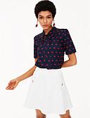 olcso Női ruhák-Terített nyak Vékony Női Ing - Egyszínű / Tavasz / Fűzőzsinor / Pöttyös