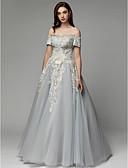 preiswerte Hochzeit Schals-Ballkleid Schulterfrei Boden-Länge Satin / Tüll Abiball / Formeller Abend Kleid mit Stickerei durch TS Couture®