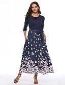 cheap Print Dresses-Women's Daily / Going out Maxi Swing Dress - Floral Print Spring Navy Blue L XL XXL