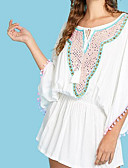 billige Skjorter til damer-Dame Store størrelser Bomull Skiftet Kjole Ovenfor knéet