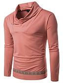 preiswerte Herren Polo Shirts-Herrn Solide - Grundlegend Baumwolle T-shirt, Rollkragen Schlank Rosa L / Langarm