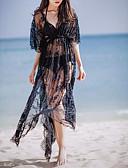 baratos Vestidos Femininos-Mulheres Feriado / Praia Algodão / Renda Vestido - Renda, Sólido Decote em V Profundo Longo Preto