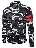 ieftine Jachete & Paltoane Bărbați-Bărbați Zilnic De Bază Primăvara & toamnă Mărime Plus Size Regular Jachetă, camuflaj Guler Cămașă Manșon Lung Bumbac / Spandex Negru / Verde Militar XL / XXL / XXXL