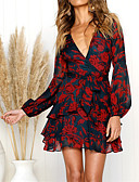 cheap Women's Dresses-Women's Holiday / Going out Chiffon Dress - Floral Print / Wrap Mini Deep V