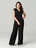 cheap Women's Jumpsuits & Rompers-Women's Daily Basic V Neck Black Wide Leg Jumpsuit, Solid Colored XL XXL XXXL Sleeveless Summer