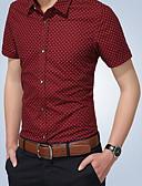 tanie Męskie koszule-Koszula Męskie Nadruk Bawełna Szczupła - Solidne kolory / Geometric Shape / Litera / Krótki rękaw / Litera