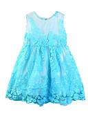 זול שמלות לתינוקות-שמלה מעל הברך ללא שרוולים תחרה / פפיון / רשת אחיד חגים פעיל / בסיסי בנות תִינוֹק / רקום / פעוטות