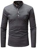 ieftine Maieu & Tricouri Bărbați-Bărbați Stand Tricou Bumbac De Bază - Bloc Culoare / Manșon Lung