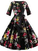 ieftine Tricou-Pentru femei Ieșire Vintage / Șic Stradă Zvelt Linie A / Swing Rochie - Imprimeu, Floral Lungime Genunchi