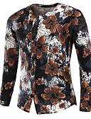abordables Camisas de Hombre-Hombre Básico Tallas Grandes Algodón Camisa Delgado Geométrico Marrón XL / Manga Larga