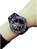 זול קווארץ-בגדי ריקוד נשים שעון יד קווארץ כרונוגרף זורח שעונים יום יומיים סגסוגת להקה אנלוגי פאר צמיד שחור / לבן - לבן שחור / חיקוי יהלום / צג גדול