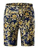 hesapli Erkek Pantolonları ve Şortları-Erkek Temel Büyük Bedenler Günlük Hafta sonu İnce Chinos / Şortlar Pantolon - Geometrik Koyu Mavi XXXL XXXXL XXXXXL / Bahar / Yaz