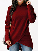 cheap Women's Sweaters-Women's Loose Long Hoodie - Solid Colored Black L