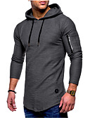お買い得  メンズTシャツ&タンクトップ-男性用 スポーツ - レースアップ プラスサイズ Tシャツ ベーシック / ストリートファッション フード付き ソリッド グレー XL / 長袖