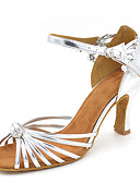 cheap Party Dresses-Women's Latin Shoes Satin Sandal / Heel Flared Heel Customizable Dance Shoes Silver
