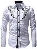 levne Pánské košile-Pánské - Barevné bloky Základní Košile Bílá XL / Dlouhý rukáv