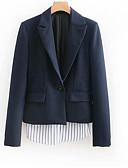 preiswerte Damen Blazer-Damen Arbeit Grundlegend Standard Jacke, Solide Umlegekragen Langarm Polyester Marineblau S / M / L