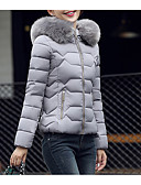 cheap Women's Scarves-Women's Daily Solid Colored Regular Parka, Cotton Long Sleeve Hooded Black / Pink / Gray L / XL / XXL