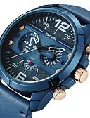 זול עור-בגדי ריקוד גברים שעוני ספורט שעון יד Japanese קווארץ שעונים יום יומיים מגניב צג גדול עור אמיתי להקה אנלוגי פאר אופנתי שחור / כחול / חום - כחול שחור / לבן לבן / Beige