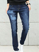 ieftine Tricou Bărbați-Bărbați Bumbac Zvelt Blugi Pantaloni Mată / Geometric