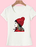 tanie T-shirt-T-shirt Damskie Podstawowy, Nadruk Bawełna Wyjściowe Portret