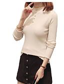 preiswerte Damen Pullover-Damen Alltag Solide Langarm Standard Pullover, Rundhalsausschnitt Baumwolle Weiß / Schwarz / Beige M / L / XL