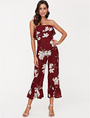 cheap Women's Jumpsuits & Rompers-Women's Plus Size Daily Basic Boat Neck Red Wide Leg Slim Jumpsuit, Floral Print S M L Short Sleeve Summer / Sexy
