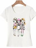 hesapli Tişört-Kadın's Pamuklu Tişört Desen, Portre Temel Dışarı Çıkma Beyaz