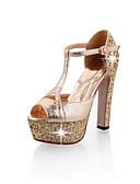 رخيصةأون ملابس ليلية نسائية-للمرأة أحذية الراحة المواد التركيبية ربيع كعوب كعب ستيلتو ذهبي / أسود / فضي