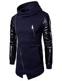 זול גברים-ג'קטים ומעילים-כותנה בגדי ריקוד גברים שחור אפור כהה כחול נייבי L XL XXL מעיל ארוך בסיסי אחיד צווארון חולצה / שרוול ארוך