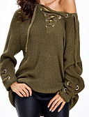 cheap Women's Sweaters-Women's Daily Basic Ripped Solid Colored Long Sleeve Slim Long Pullover, Deep V Fall Camel / Gray / Army Green One-Size