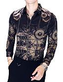 זול טישרטים לגופיות לגברים-קולור בלוק צווארון קלאסי רזה חולצה - בגדי ריקוד גברים / שרוול ארוך