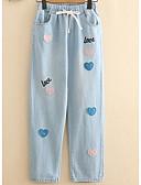 ieftine Pantaloni de Damă-Pentru femei Larg Blugi Pantaloni Floral / Scrisă