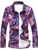 זול חולצות לגברים-פרחוני מידות גדולות כותנה, חולצה - בגדי ריקוד גברים / שרוול ארוך