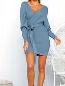 abordables Vestidos Jersey-Mujer Punto Vestido - Envuelva, Un Color Mini / Escote en Pico / Otoño / Invierno